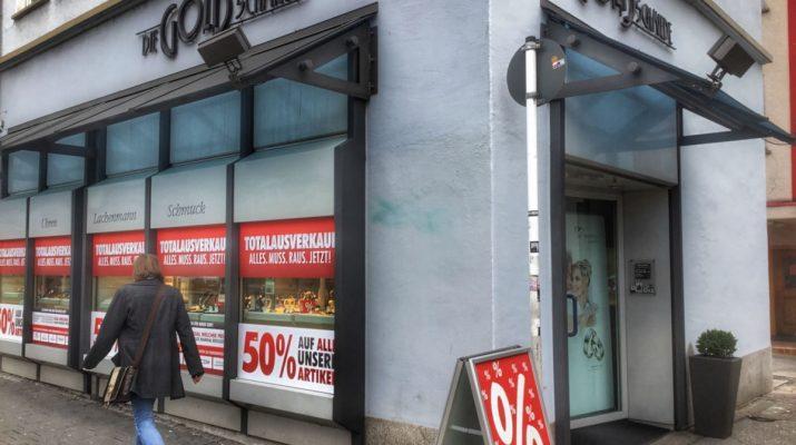 Die Goldschmiede in der Karlstrasse macht Totalausverkauf wegen Geschäftsaufgabe