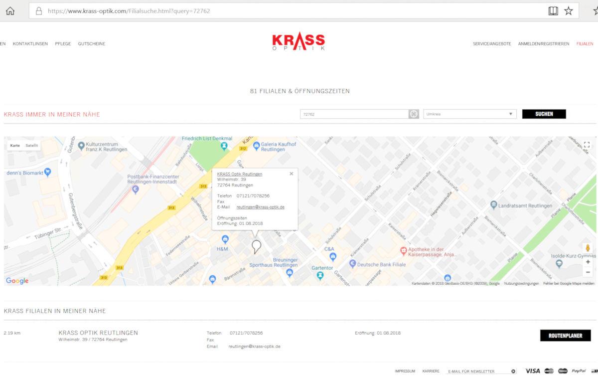 Filial-Ankündigung auf der Website von Krass