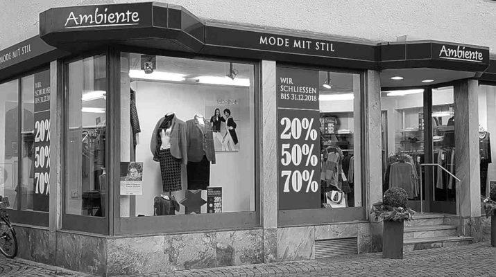 Modeboutique Ambiente - Mode mit Stil in der Metzgerstrasse hört mit dem Jahreswechsel auf.