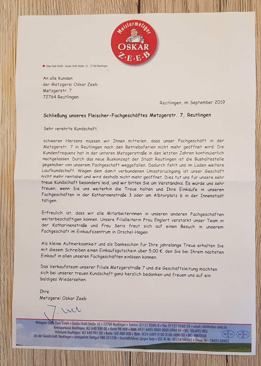offener Brief an die Kunden von Oskar Zeeb