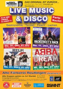 Plakat zu Live Music & Disco von hb-concerts