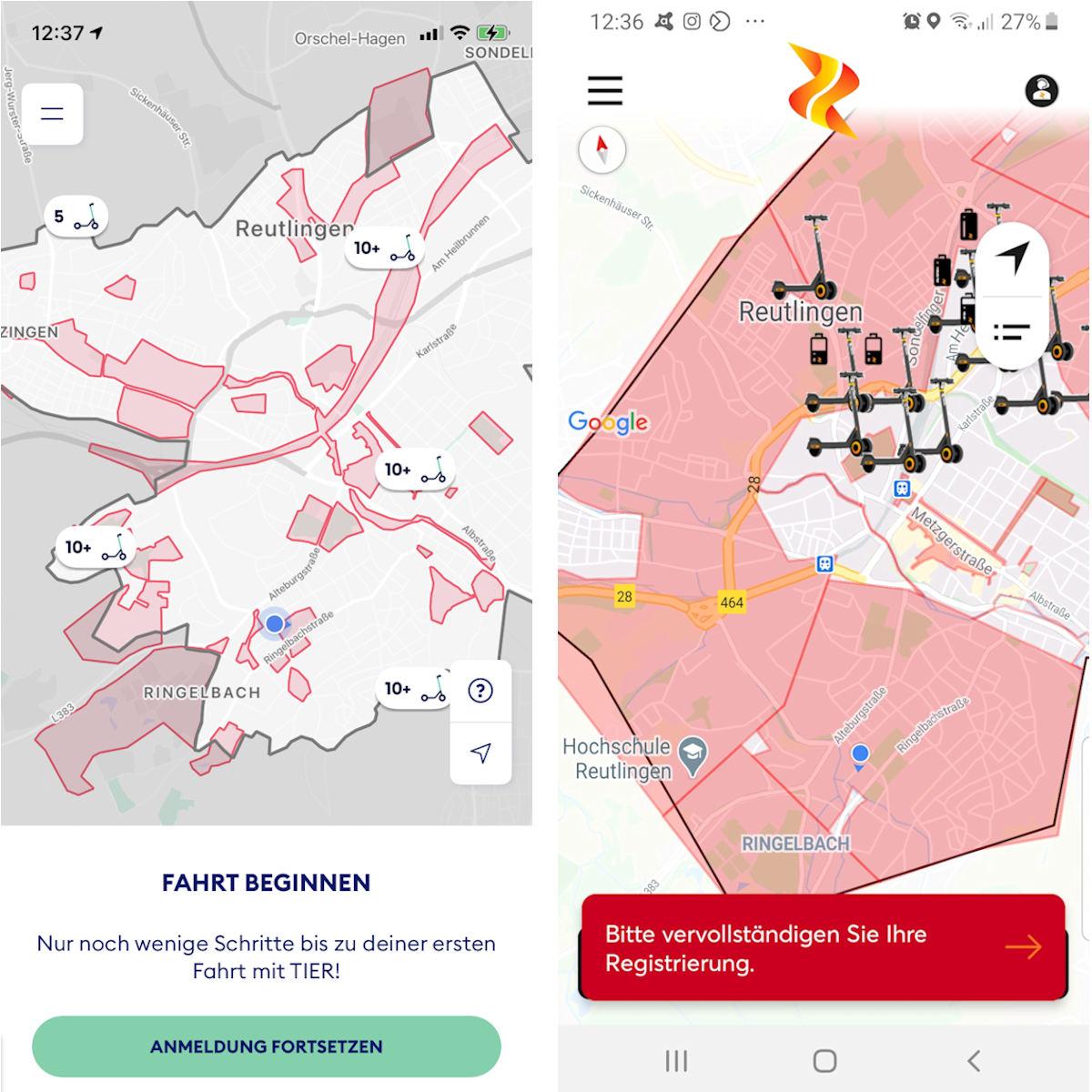 Screenshots der Apps von TIER und ZEUS