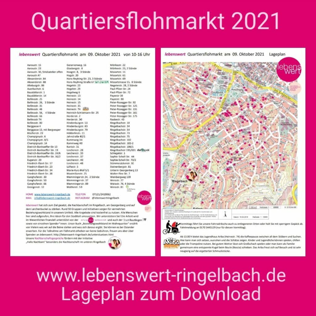 Standplan zum Quartiersflohmarkt 2021